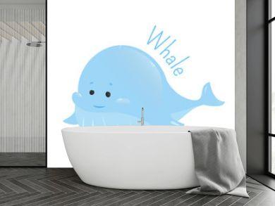 Blue whale. Sticker for kids. Child fun icon.