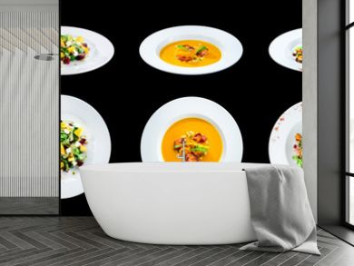 Set of delicious classic dishes. Autumn menu in an Italian restaurant isolated on black background