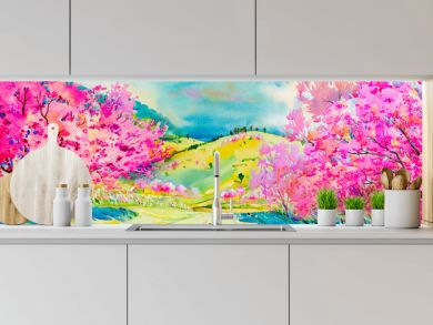 Painting pink color of Wild himalayan cherry flowers