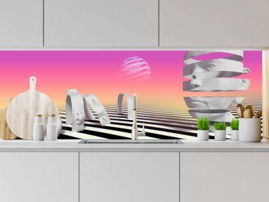 head's abstrat illusion background. 3D Illustration