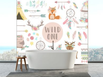 Ð¡ollection of hand-drawn boho style icons. The image of animals, arrows, feathers, flowers, wigwam, dreamcatcher. Vector by national american motifs for baby, cards, flyers, posters, prints, holiday