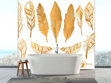 Golden Luxury Tribal Feathers set. Gold boho ethnic collection isolated.