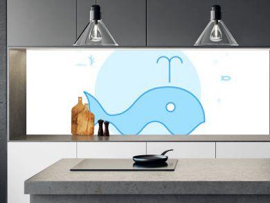 Blue Whale Flat Vector Illustration, Icon. Light Blue Monochrome Design. Editable Stroke