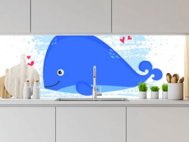 Cute whale print. Vector illustration.