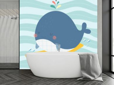 """Cute whale on a surf with a sign """"Surf the waves"""". Vector illustration in a scandinavian style. Cute and funny poster."""
