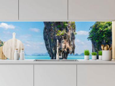 Vertical image amazing nature scenic landscape James bond  island, Phang Nga bay, Attraction famous landmark tourist travel Phuket Thailand summer holiday vacation, Tourism beautiful destination Asia