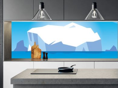 arctic landscape with blue sky and iceberg, north pole
