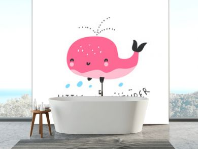 LITTLE ADVENTURER. Cute whale under the sea, hand drawn vector illustration. Quote about adventure. Can be printed on T-shirts, bags, posters, invitations, cards, phone cases, pillows.
