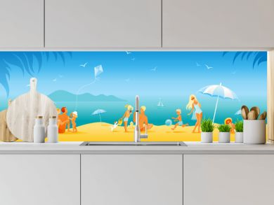 Family beach vacation banner. Summer sea travel background in cartoon style. People fun vector illustration. Happy woman, man, children, kid with sunny beach landscape pattern. Outdoor lifestyle