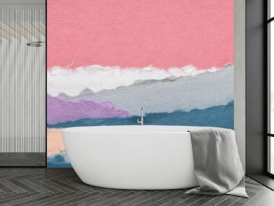 landscape in pink and blue tones  - a collection of colorful handmade Indian papers produced from recycled cotton fabric, panoramic web banner