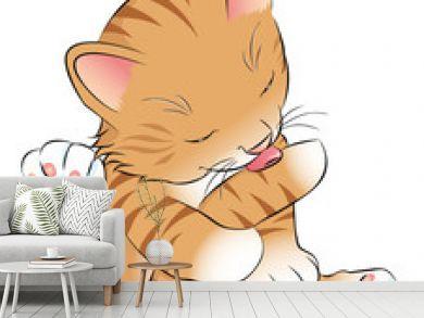 Katzenbaby putzt sich