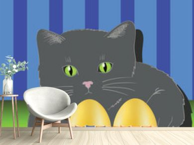 cat and two easter eggs