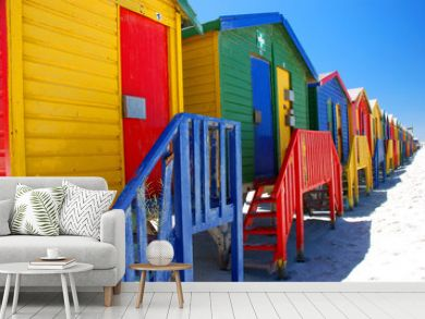 Brightly colorful beach cabins in Muizenberg. South Africa