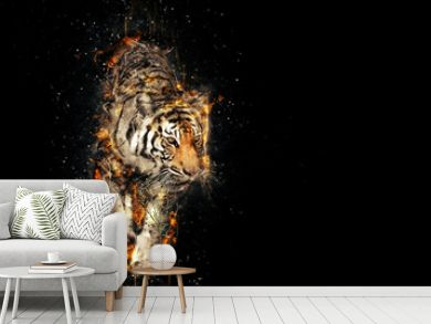 Burning tiger over black background