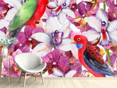 Exotic floral pattern - parrot bird, blooming orchid flowers