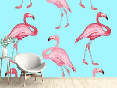 Flamingo pattern beautiful bird flamingos on a blue background