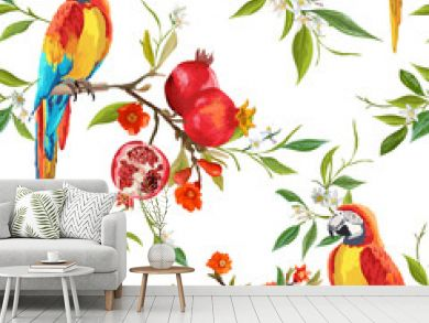 Seamless Pattern. Pomegranate Tropical Background. Floral Pattern