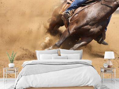 A barrel racing horse skids around the corner throwing up dirt.