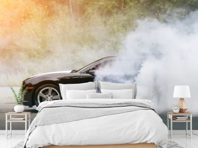 Drift - muscle car makes smoke