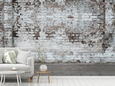 Urban background, white ruined industrial brick wall whith copy space