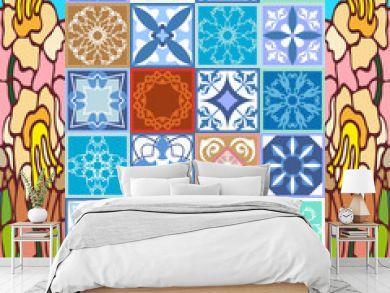 Glazed ceramic mosaic with Moroccan, Spanish, Portuguese motifs.