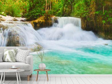 Tat Kuang Si Waterfalls. Beautiful panorama landscape. Laos.