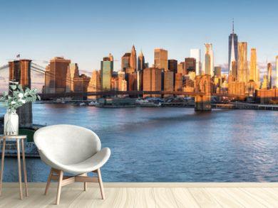 East River mit Blick auf Manhattan und die Brooklyn Bridge, New York, USA