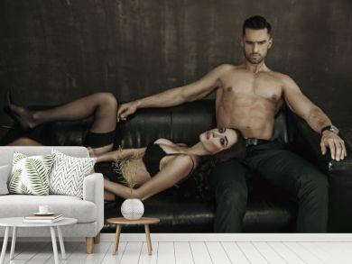 Sensual woman laying on her lover's legs