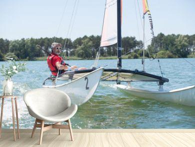 Older man on sailing vessel