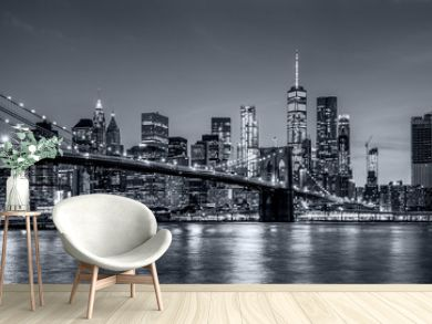 Panorama new york city at night  in monochrome blue tonality