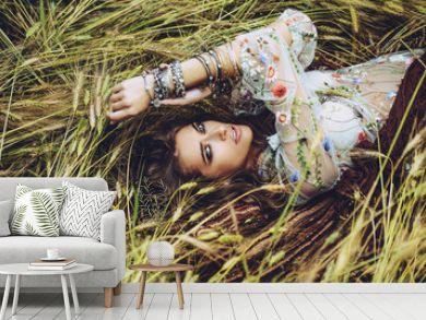 lying on grass in field