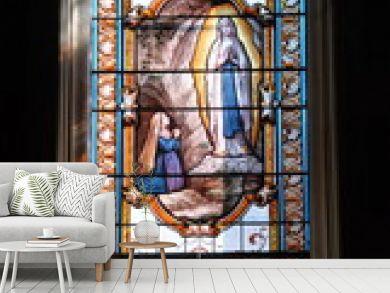 Ville de Contres, vitrail de l'église Saint-Cyr-et-Sainte Julitte, département du Loir-et-Cher, France
