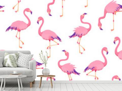 Pink flamingos pattern. Cute tropical birds, seamless flamingo hawaii texture bird repeat print decor wallpaper