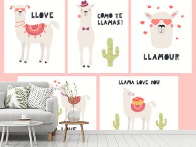Set of Valentines day cards with cute funny llamas, cacti, hearts, text, Spanish Como te llamas, Whats you name. Hand drawn vector illustration. Scandinavian style flat design. Concept children print.