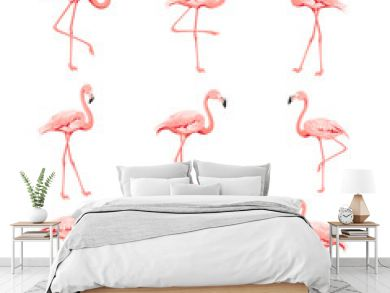 Tropical birds collection. Pink flamingos set. Fashion summer print bundle. Elements for invitation card and your template design. Vector illustration.