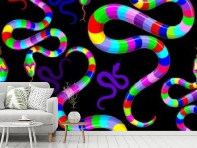 Snake Psychedelic Rainbow Fantasy Vector Seamless Pattern Design