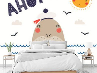 Hand drawn vector illustration of a cute walrus sailor, with sea waves, seagulls, lettering quote Ahoy. Isolated objects on white background. Scandinavian style flat design. Concept for children print