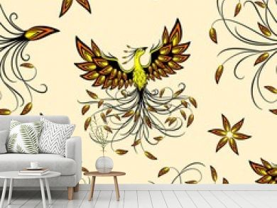 Phoenix Mythical Creature Vector Seamless Pattern Background