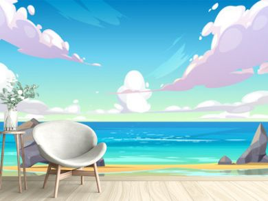 Ocean or sea beach nature landscape with fluffy clouds flying in sky and rocks sticking up from sand in coastline. Morning or day time summer tranquil seascape background, Cartoon vector illustration
