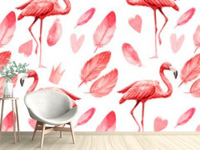 seamless pattern an isolated white background, watercolor illustration, painting cute pink flamingo birds,  feathers, heart, crown