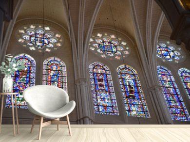 Vitraux de la cathédrale gothique de Chartres, France