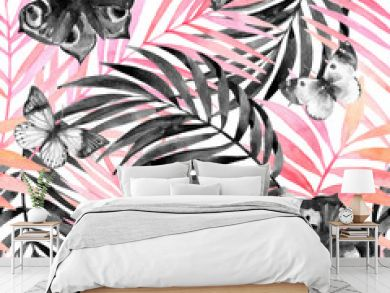 Water color tropical leaves and beautiful butterflies silhouettes background.