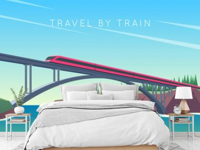 Travel by train concept. Train rides over the bridge. The bridge across the river. Vector illustration
