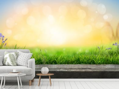 A wooden table top product display with a fresh sunny Easter background of blue sky and  warm bokeh with green grass meadow foreground.