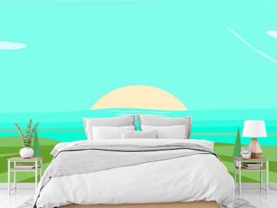 landscape with sea and blue sky panorama vector illustration graphic design