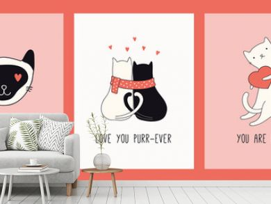 Collection of hand drawn Valentines day greeting cards with cute cats in hats, hearts, gifts, quotes. Vector illustration. Line drawing. Design concept for holiday print, invite, banner, gift tag.
