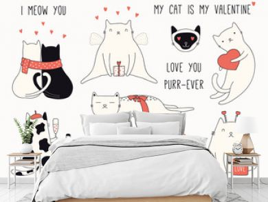 Collection of cute funny doodles of different cats, with hearts. Isolated objects on white background. Hand drawn vector illustration. Line drawing. Design concept Valentines day card invite, print.