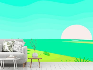 Spring landscape panorama vector illustration with abstract background pattern wallpaper graphic designs