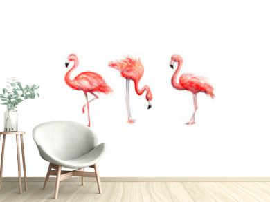 Aquarelle painting of flamingo sketch art pattern illustration