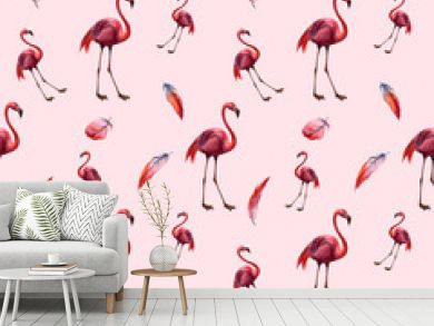 Watercolor seamless pattern with flamingo. Hand drawing decorative background. Hand drawn watercolor illustration. Print for textile, cloth, wallpaper, scrapbooking